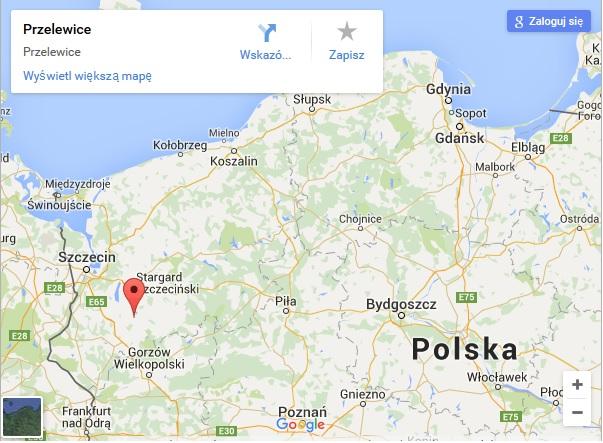 Mapa Polski. Przelewice.
